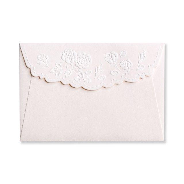 ミニメッセージカード用封筒 エンボス バラ
