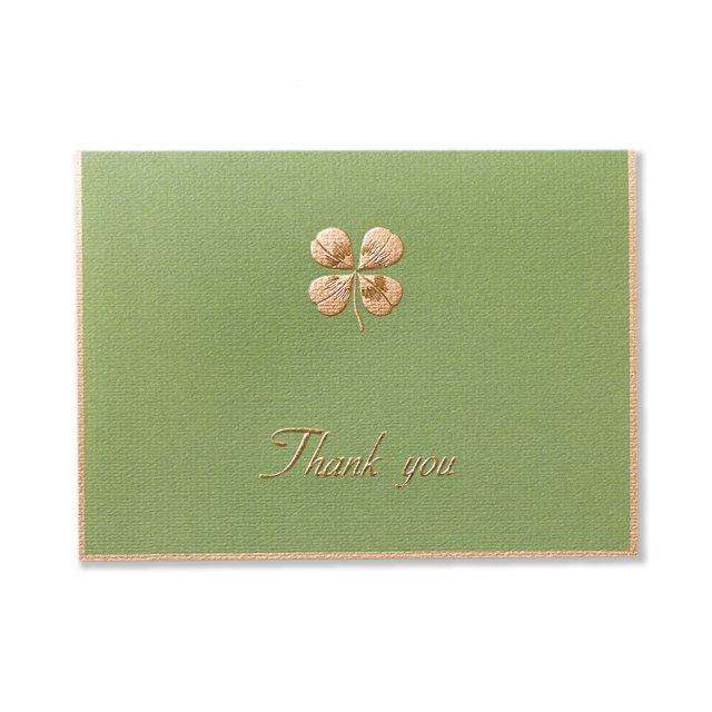 カード 四葉のクローバー グリーン  THANK YOU