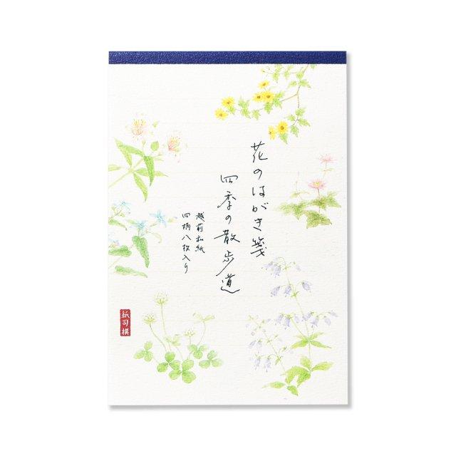 紙司撰 はがき箋 花のはがき箋 四季の散歩道・藍 ヨコ罫