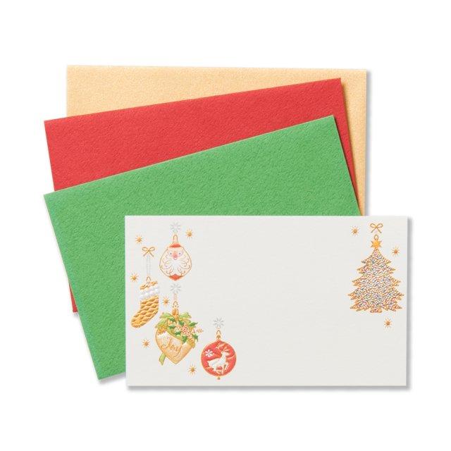 ミニメッセージカードセット クリスマスオーナメント