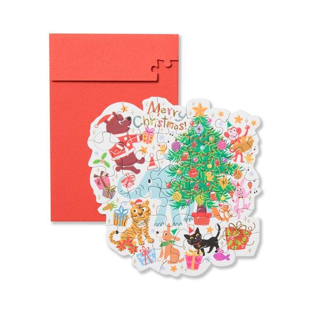 クリスマスカード ジグソー レッツパーティ !