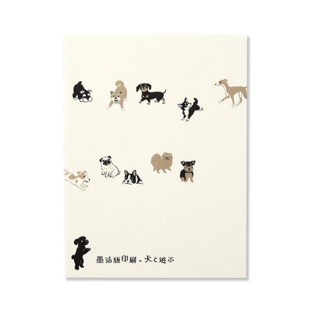 便箋 犬と遊ぶ