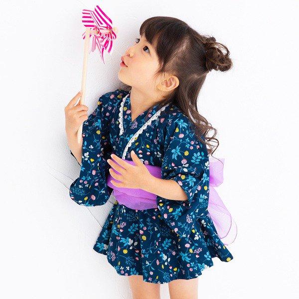 ワンピース浴衣 / nino(ニノ)/ ネイビー / 80-110cm