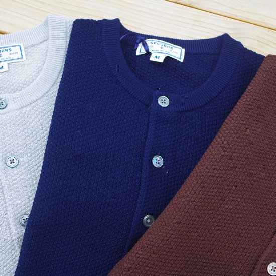 """SECOURS """"high twistwool henley neck thermal knit"""""""