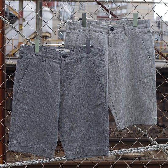 "FOB FACTORY ""F4155 Herringbone Tapered Shorts"""
