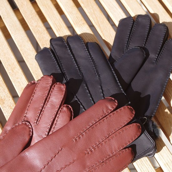 "DENTS ""Fur lined leather gloves"""