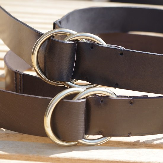 "GLEN ANDERSON ""bridle leather double ring belt"""