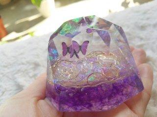 オルゴナイト☆バタフライ ダイヤモンド型大 パープル ピンク 2種