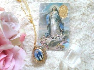 オルゴナイト☆聖母マリアペンダント&メダイカード&ルルドの泉の水セット ゴールド