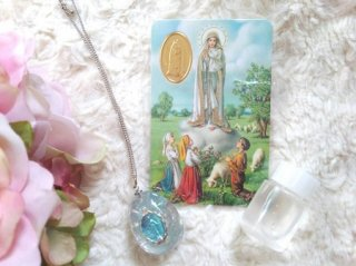 オルゴナイト☆聖母マリアペンダント&メダイカード&ルルドの泉の水 セット シルバー