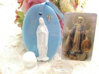 【Sale!!】オルゴナイト☆聖母マリア オーナメント&メダイカード&ルルドの泉の水セット マリアブルー