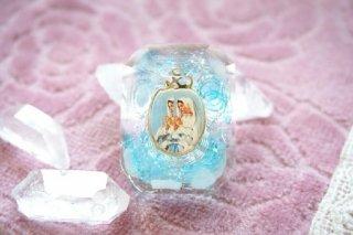 【Sale!】オルゴナイト☆聖母マリアメダイ クリスタル型 ブルーD