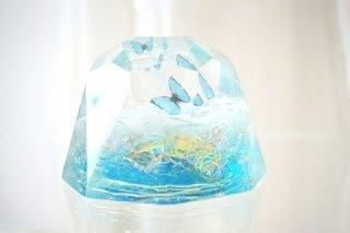 オルゴナイト☆バタフライ ダイヤモンド型大 アクア