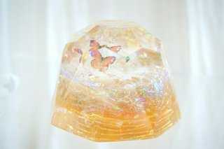 オルゴナイト☆バタフライ ダイヤモンド型大 オレンジ