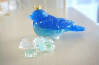 オルゴナイト☆幸せの青い鳥 3兄弟(長男) 切り株 クローバー付き