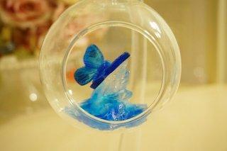 オルゴナイト☆宙に浮く癒しのクリスタルと蝶1  モルフォイブルーB