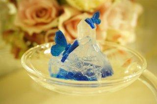 オルゴナイト☆宙に浮く癒しのクリスタルと蝶2 モルフォイブルーA LEDキャンドル付き