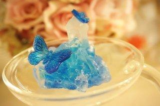 オルゴナイト☆宙に浮く癒しのクリスタルと蝶2 モルフォイブルーB LEDキャンドル付き