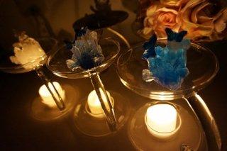 オルゴナイト☆宙に浮く癒しのクリスタルと蝶2 ホワイト LEDキャンドル付き