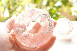 オルゴナイト☆ディスク型 月の雫 大小ペア 桜色シルバー