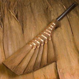 【棕櫚箒】左官箒6玉/黒竹柄/皮と本鬼毛混合(受注製作)