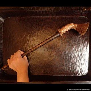 【在庫のある棕櫚箒】棕櫚キセル型束子(キセルタワシ)/黒竹柄/[E送料]