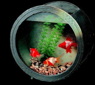 「陶水槽丸(黒釉)大」【信楽陶器卸商業協同組合】