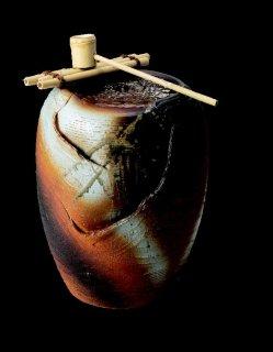 「湧き水つくばい火色響(竹・循環式モーター付)」【信楽陶器卸商業協同組合】