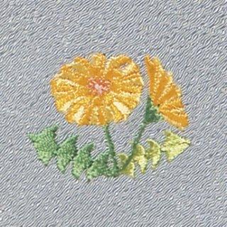 【ネコポス可】お弁当フロシキ・春刺繍 たんぽぽ(銀鼠色)