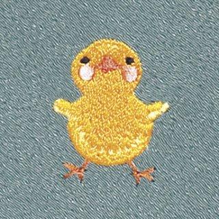 【ネコポス可】お弁当フロシキ・春刺繍 ひよこ(青磁色)
