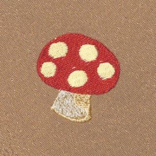 【ネコポス可】お弁当フロシキ・秋刺繍 きのこ(狐色)