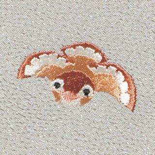 【ネコポス可】お弁当フロシキ・冬刺繍 すずめ(象牙色)