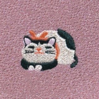 【ネコポス可】お弁当フロシキ・冬刺繍 ねこ(紅樺色)
