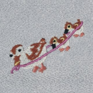【ネコポス可】歳時記ふろしき 春・夏 カルガモ(銀鼠色)