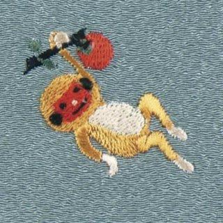 【ネコポス可】歳時記ふろしき 秋・冬 サル(青磁色)