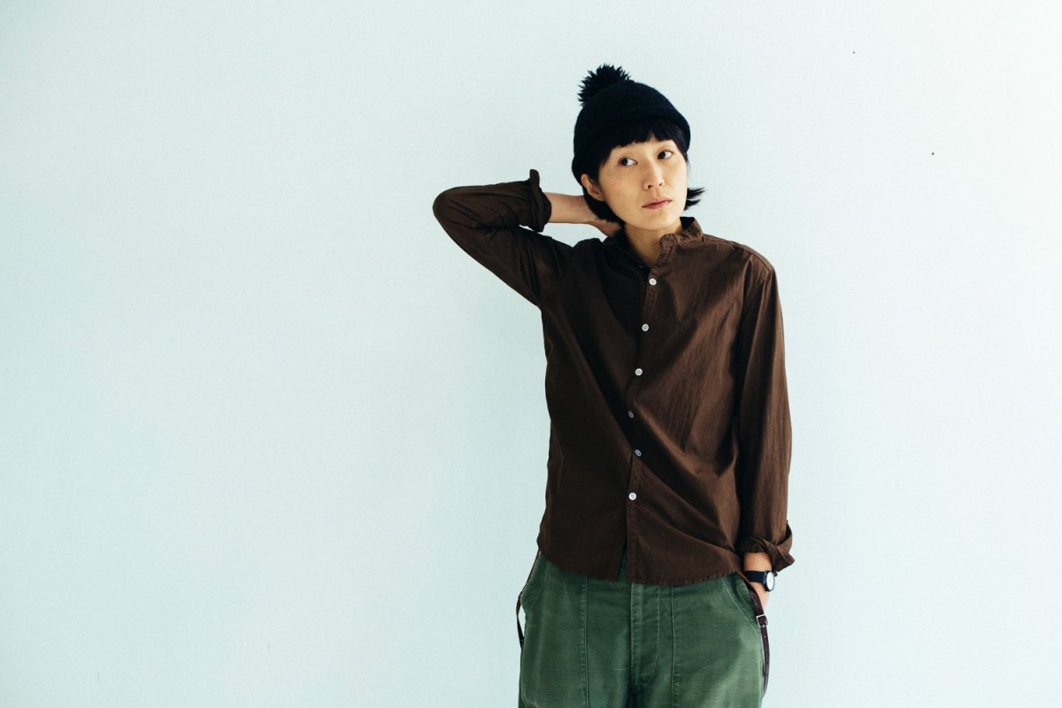 MUYA 100/2 Stand collar shirts Brown