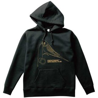 YOYO BIRD HEAVYWEIGHT HOODED SWEATSHIRT / BLACK X TAN