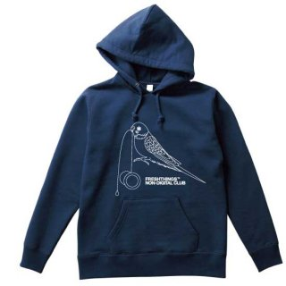 YOYO BIRD HEAVYWEIGHT HOODED SWEATSHIRT / NAVY X WHITE