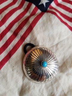Indian jewellery(インディアンジュエリー)  シルバーコンチョヘアゴム(ターコイズ)