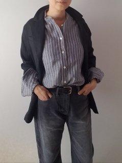 James Mortimer (ジェームスモルティマ)リネンバンドカラーシャツ 長袖 【SALE 15%OFF送料別途】