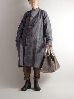 LANE FORTY FIVE (レーンフォーティーファイブ)スタンドカラーロングジャケット GreyTweed