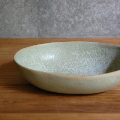 緑灰濁釉 楕円鉢 / 庄司工房