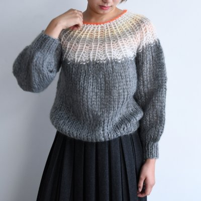 <img class='new_mark_img1' src='https://img.shop-pro.jp/img/new/icons20.gif' style='border:none;display:inline;margin:0px;padding:0px;width:auto;' />Maiami Mohair Pleated Sweater Gradient Grey