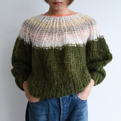<img class='new_mark_img1' src='https://img.shop-pro.jp/img/new/icons20.gif' style='border:none;display:inline;margin:0px;padding:0px;width:auto;' />Maiami Mohair Pleated Sweater Gradient Moss Green