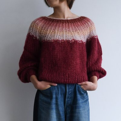 <img class='new_mark_img1' src='https://img.shop-pro.jp/img/new/icons20.gif' style='border:none;display:inline;margin:0px;padding:0px;width:auto;' />Maiami Mohair Pleated Sweater Gradient Wine