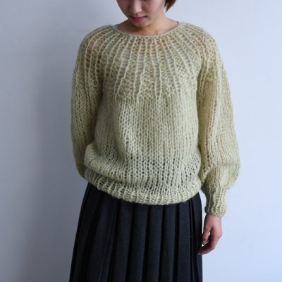 Maiami Mohair Pleated Sweater Pistachio<img class='new_mark_img2' src='//img.shop-pro.jp/img/new/icons8.gif' style='border:none;display:inline;margin:0px;padding:0px;width:auto;' />