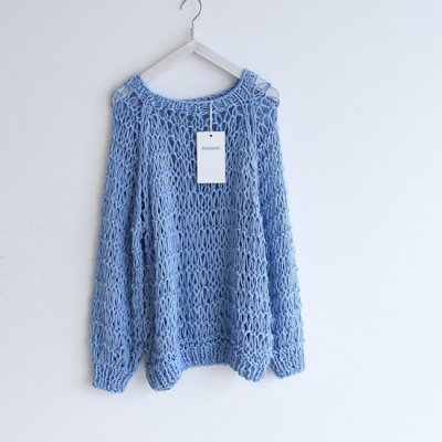 Maiami Cotton Dropstitch Sweater Soft blue<img class='new_mark_img2' src='https://img.shop-pro.jp/img/new/icons8.gif' style='border:none;display:inline;margin:0px;padding:0px;width:auto;' />