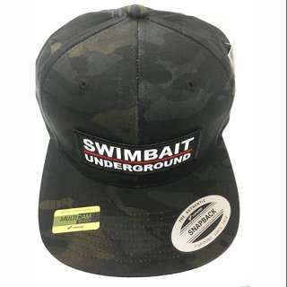 SWIMBAIT UNDERGROUND ロゴパッチ ブラックマルチカモ スナップバック<img class='new_mark_img2' src='https://img.shop-pro.jp/img/new/icons1.gif' style='border:none;display:inline;margin:0px;padding:0px;width:auto;' />