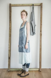 【ネコポス送料無料】not PERFECT LINEN | SHORT SQUARE CROSS LINEN APRON (swedish blue) | エプロン