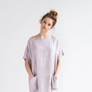 not PERFECT LINEN | Oversized/one size square neck loose fitting linen summer dress (ashes of rose)